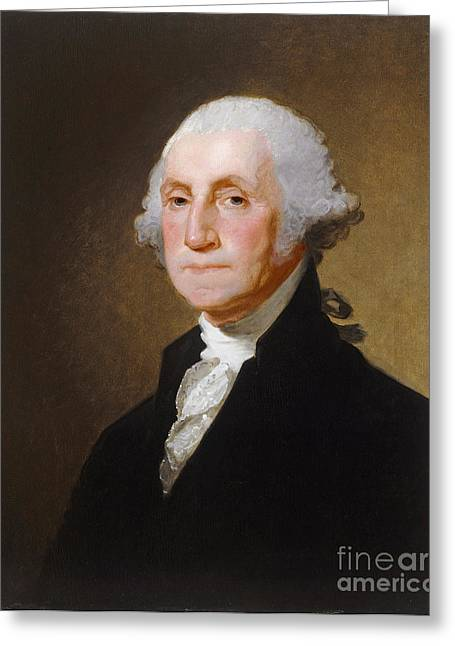 Politicians Paintings Greeting Cards - George Washington Greeting Card by Gilbert Stuart