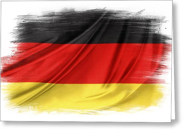 Black Flag Greeting Cards - German flag Greeting Card by Les Cunliffe