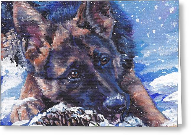 German Shepard Dogs Greeting Cards - German Shepherd Greeting Card by Lee Ann Shepard