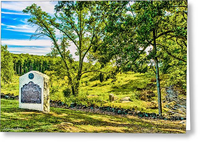 Battlefield Site Mixed Media Greeting Cards - Gettysburg Battleground Greeting Card by  Bob and Nadine Johnston