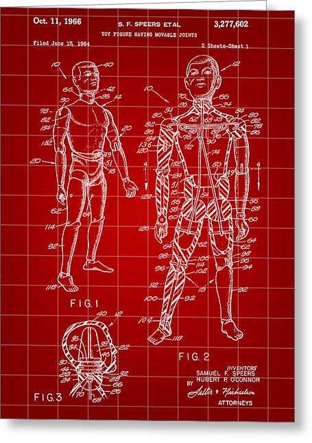G.i. Greeting Cards - G.I. Joe Patent 1964 - Red Greeting Card by Stephen Younts