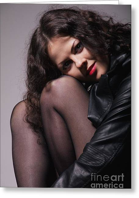 Leather Jackets Greeting Cards - Girl In Leather Jacket Greeting Card by Aleksey Tugolukov