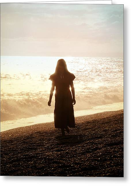 Evening Dress Greeting Cards - Girl On Beach Greeting Card by Joana Kruse