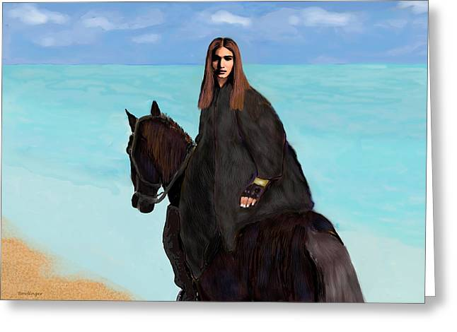 Sea Horse Greeting Cards - Girl on Horse Greeting Card by Scott Bowlinger