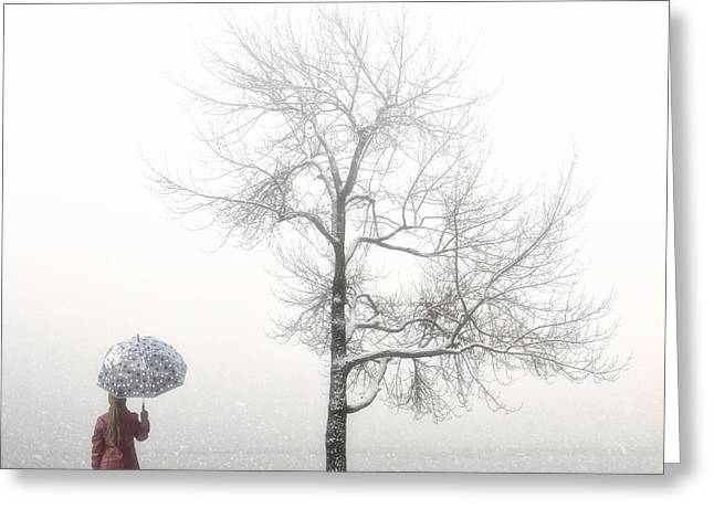 Braids Greeting Cards - Girl With Umbrella Greeting Card by Joana Kruse