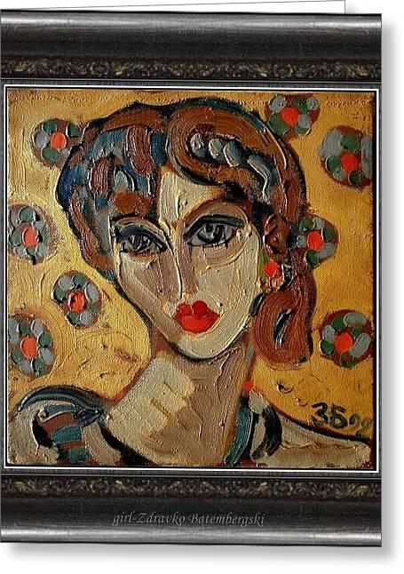 People Paintings Greeting Cards - Girl Greeting Card by Zdravko Batembergski