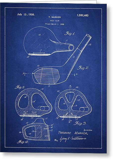 Play Digital Greeting Cards - Golf Club Patent Drawing From 1926 Greeting Card by Aged Pixel