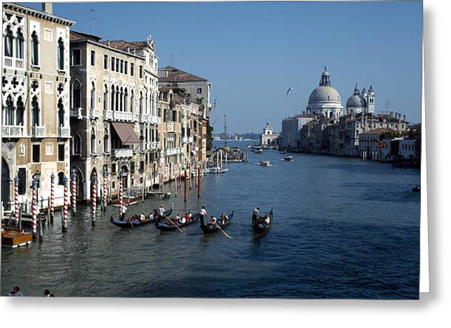 Wooden Building Greeting Cards - Gondolas In A Canal, Grand Canal Greeting Card by Panoramic Images