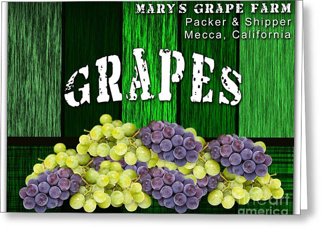 Red Wine Prints Mixed Media Greeting Cards - Grape Farm Greeting Card by Marvin Blaine