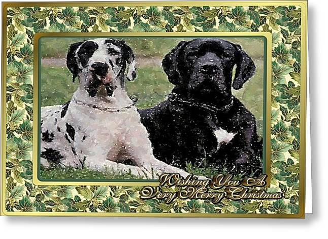 Great Pastels Greeting Cards - Great Dane Dog Christmas Greeting Card by Olde Time  Mercantile