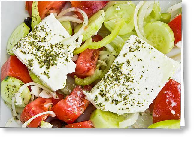 Lettuce Greeting Cards - Greek salad Greeting Card by Tom Gowanlock