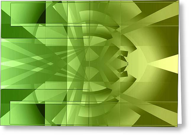 Geometric Image Greeting Cards - Green Abstract  Greeting Card by GP Images