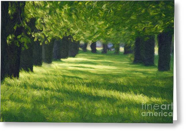 Spring Scenes Digital Greeting Cards - Green Lane in the Park Greeting Card by Aleksey Tugolukov