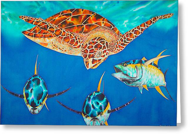 Silk Art Tapestries - Textiles Greeting Cards - Green Sea Turtle Greeting Card by Daniel Jean-Baptiste