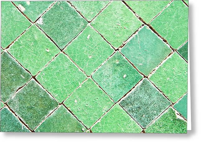 Geometric Style Greeting Cards - Green tiles Greeting Card by Tom Gowanlock