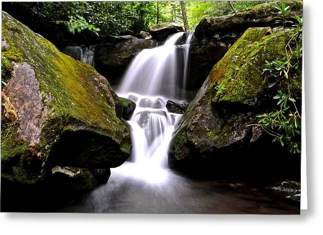 Gatlinburg Tennessee Greeting Cards - Grotto Falls Greeting Card by Frozen in Time Fine Art Photography