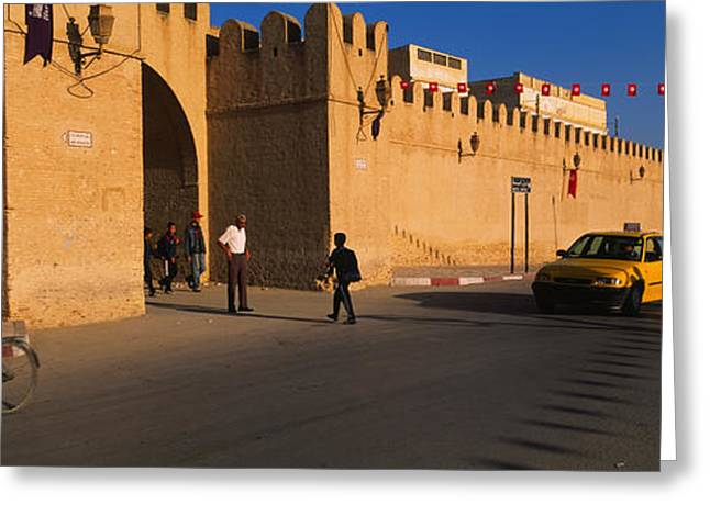 Tunisia Greeting Cards - Group Of People Walking On The Road Greeting Card by Panoramic Images
