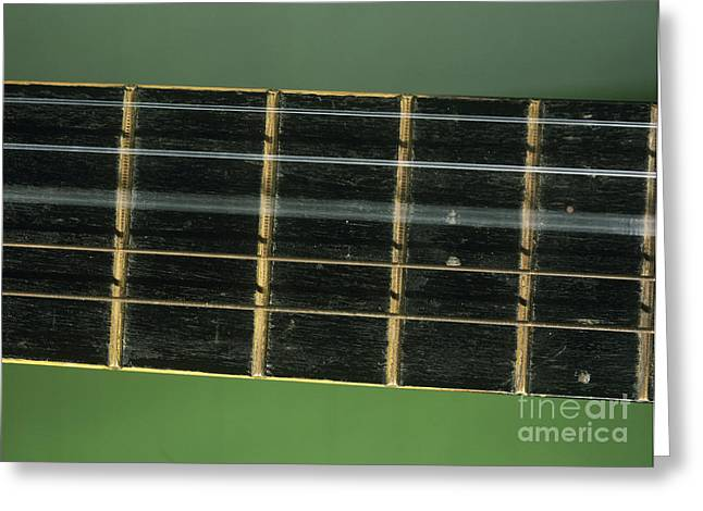 Vibrate Greeting Cards - Guitar String Vibrating Greeting Card by Andrew Lambert Photography