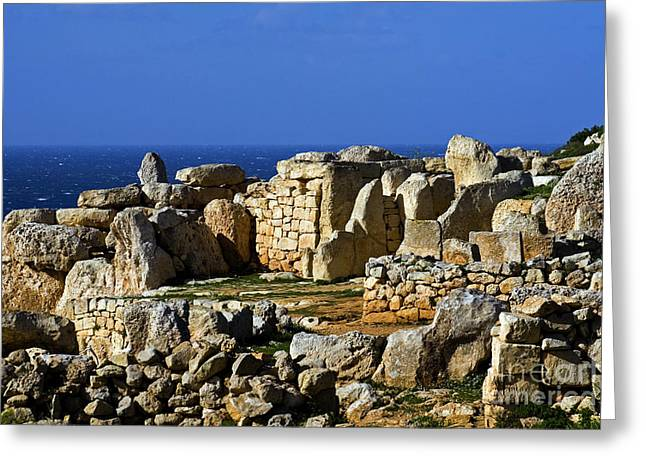 Ancient Ruins Greeting Cards - Hagar Qim Stone Temple Greeting Card by Tim Holt