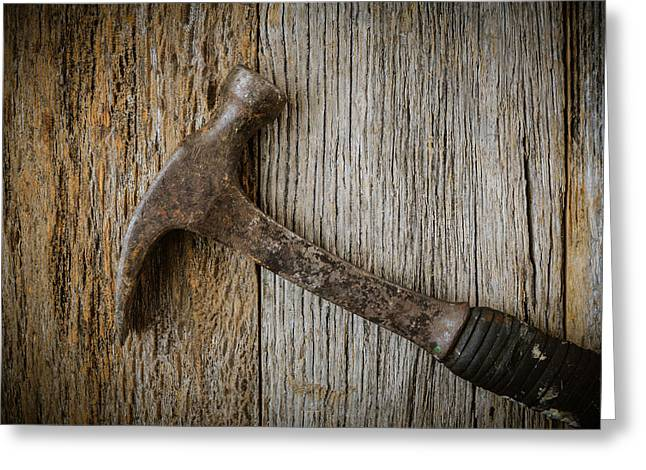Yellow Hammer Greeting Cards - Hammer On Rustic Hardwood Floor Greeting Card by Brandon Bourdages