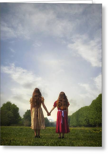 Hands Behind Back Greeting Cards - Hand In Hand Greeting Card by Joana Kruse