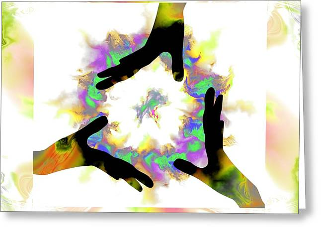 Fractal Orbs Greeting Cards - 3  Hands Creating #3 Greeting Card by Elizabeth McTaggart