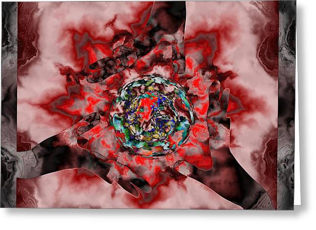 Fractal Orbs Greeting Cards - 3 Hands Creating Greeting Card by Elizabeth McTaggart