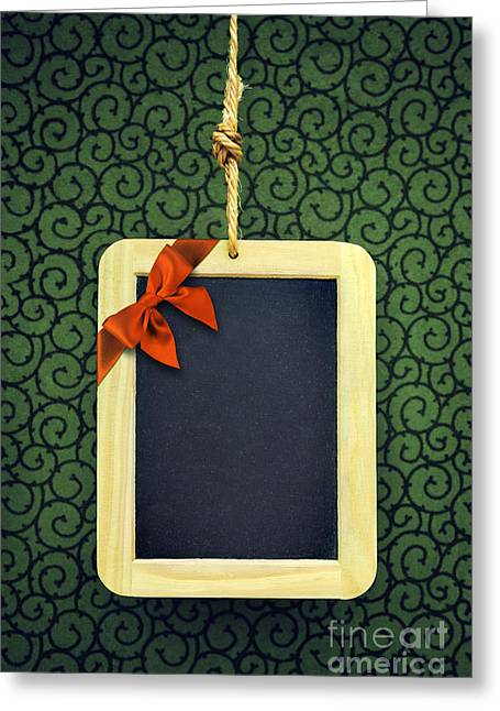 New Year Greeting Cards - Hanged Xmas Slate - Bow  Greeting Card by Carlos Caetano