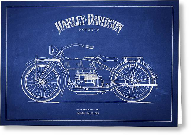 Motorcycle Digital Art Greeting Cards - Harley Davidson Motorcycle Patent Drawing From 1919 Greeting Card by Aged Pixel