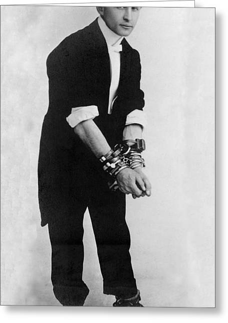 Houdini Greeting Cards - Harry Houdini, Hungarian-american Greeting Card by Photo Researchers