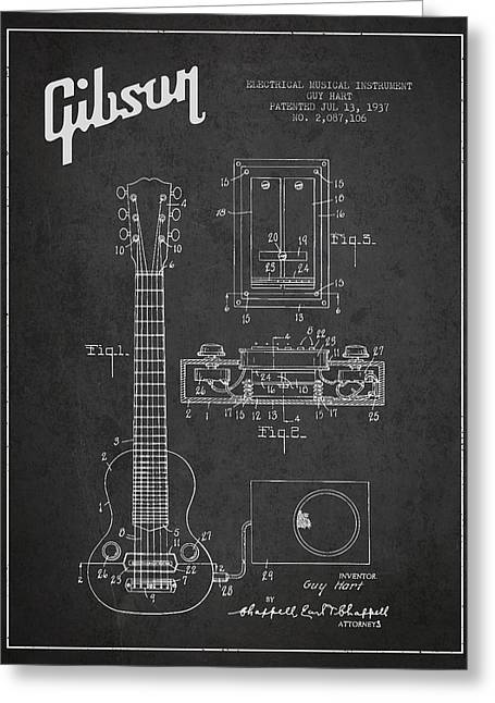 Gibson Greeting Cards - Hart Gibson electrical musical instrument patent Drawing from 19 Greeting Card by Aged Pixel