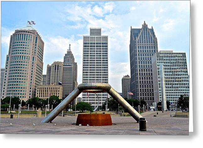 Hart Greeting Cards - Hart Plaza Detroit Greeting Card by Frozen in Time Fine Art Photography
