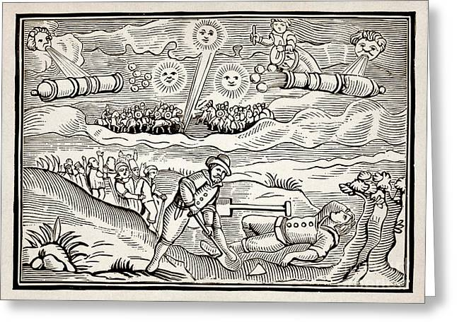 1628 Greeting Cards - Hatford Meteor Fall, 1628 Greeting Card by Detlev van Ravenswaay
