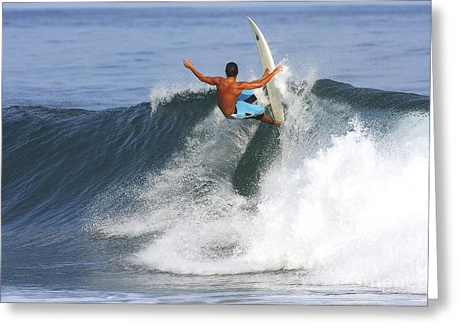 Technical Greeting Cards - Hawaii, Oahu, North Shore, Pipeline, Surfer, Riding A Wave. Greeting Card by Vince Cavataio