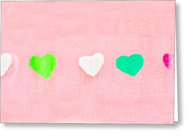 Salmon Pink Greeting Cards - Hearts Greeting Card by Tom Gowanlock