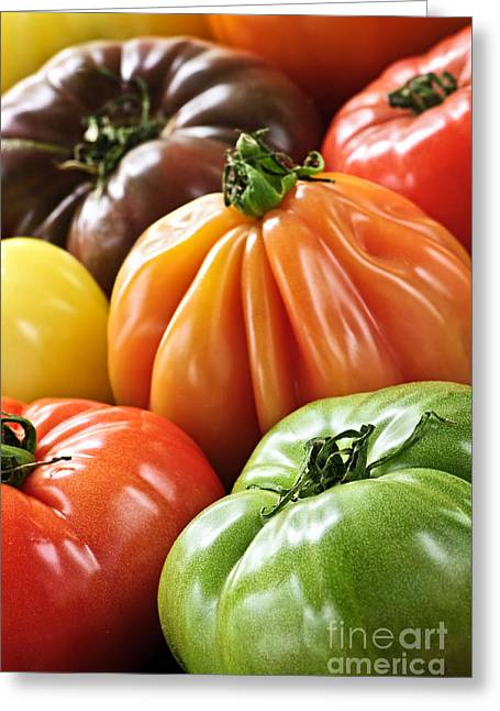 Raw Greeting Cards - Heirloom tomatoes Greeting Card by Elena Elisseeva