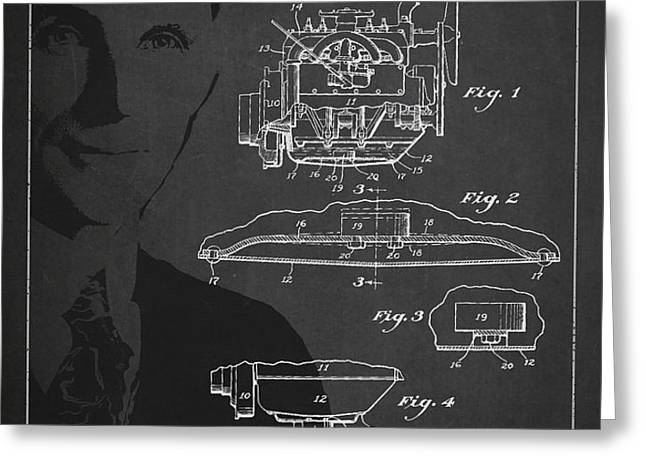 Henry Ford Engine Patent Drawing From 1928 Greeting Card by Aged Pixel