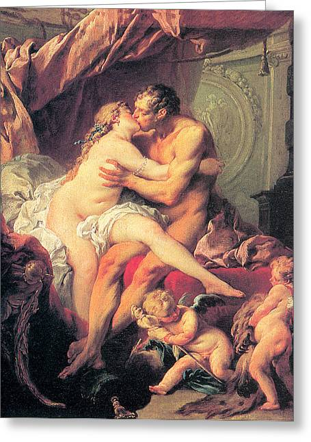 Bed Spread Greeting Cards - Hercules and Omphale Greeting Card by Francois Boucher