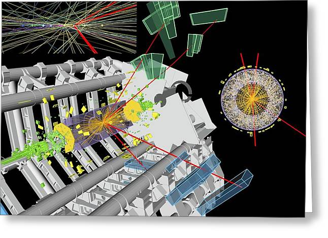 Swiss Cross Greeting Cards - Higgs boson research, ATLAS detector Greeting Card by Science Photo Library