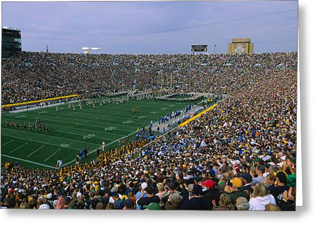 Field. Cloud Greeting Cards - High Angle View Of A Football Stadium Greeting Card by Panoramic Images
