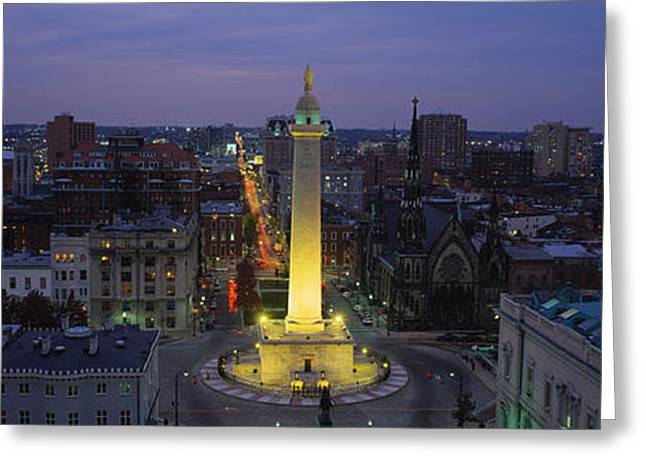 Illuminate Greeting Cards - High Angle View Of A Monument Greeting Card by Panoramic Images