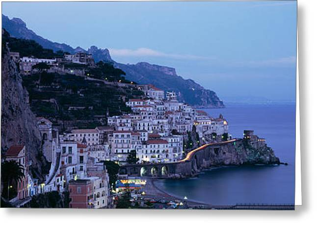 Amalfi Sunset Greeting Cards - High Angle View Of A Village Greeting Card by Panoramic Images