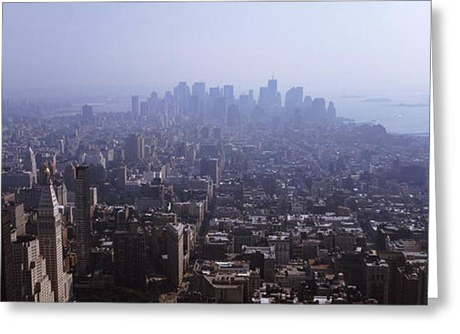 Downtown District Greeting Cards - High Angle View Of Buildings In A City Greeting Card by Panoramic Images