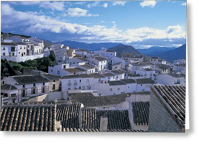 """roof Tile"" Greeting Cards - High Angle View Of Buildings In A Town Greeting Card by Panoramic Images"