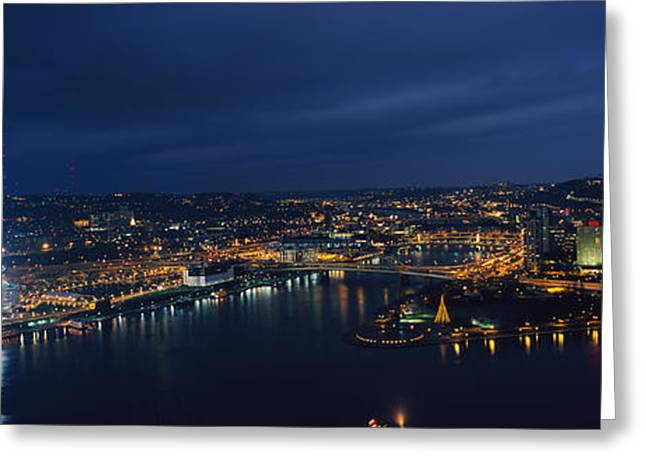 Allegheny River Greeting Cards - High Angle View Of Buildings Lit Greeting Card by Panoramic Images