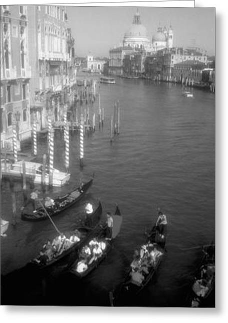 Wooden Building Greeting Cards - High Angle View Of Gondolas In A Canal Greeting Card by Panoramic Images