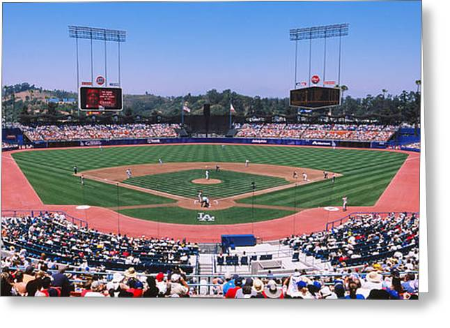 Dodger Stadium Greeting Cards - High Angle View Of Spectators Watching Greeting Card by Panoramic Images