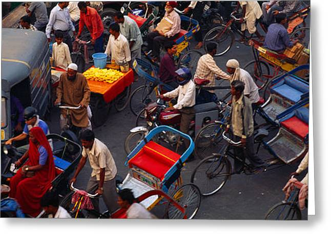 Asian Ethnicity Greeting Cards - High Angle View Of Traffic Greeting Card by Panoramic Images