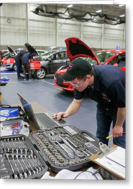 High School Auto Repair Competition Greeting Card by Jim West