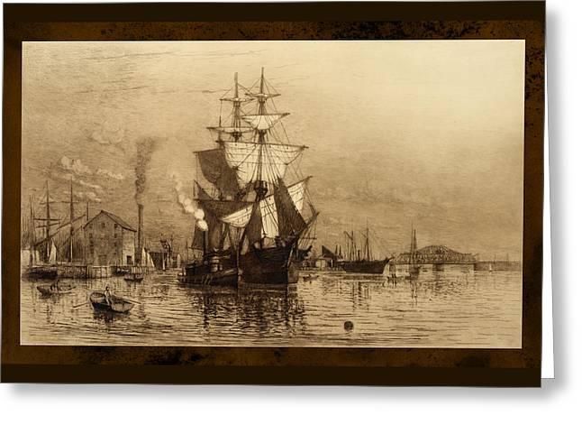 Historic Seaport Schooner Greeting Card by John Stephens